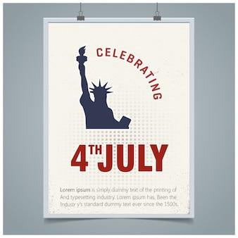 Tarjeta de felicitación del 4 de julio día de la independencia de estados unidos