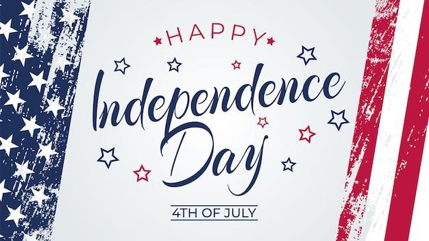 Tarjeta de felicitación del 4 de julio con fondo de trazo de pincel en los colores de la bandera nacional de los estados unidos