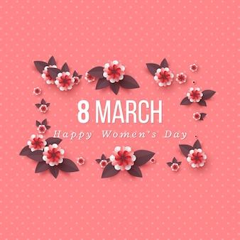 Tarjeta de felicitación del 8 de marzo para el día internacional de la mujer. flores de corte de papel.