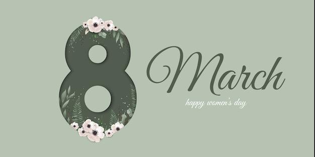 Tarjeta de felicitación para el 8 de marzo con plantas de primavera, hojas y flores.