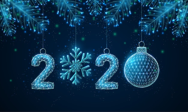Tarjeta de felicitación abstracta feliz año nuevo 2020 con ramas de los árboles en forma.