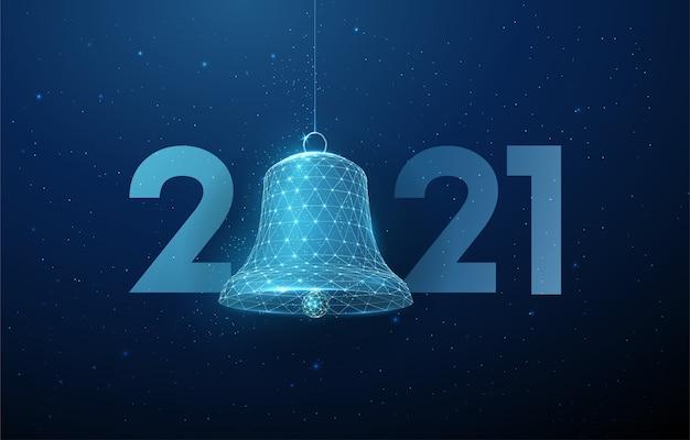 Tarjeta de felicitación abstracta feliz año nuevo 2021 con planeta. diseño de estilo low poly. fondo geométrico abstracto estructura de conexión de luz de estructura metálica concepto gráfico 3d moderno aislado