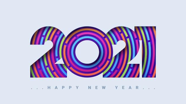 Tarjeta de felicitación abstracta feliz año nuevo 2021