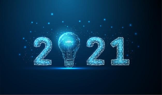 Tarjeta de felicitación abstracta de feliz año nuevo con bombilla.