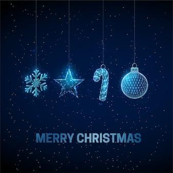 Tarjeta de felicitación abstracta de feliz año nuevo con juguetes de navidad colgantes. diseño de estilo de baja poli fondo geométrico abstracto estructura ligera de estructura metálica concepto gráfico 3d moderno. aislado
