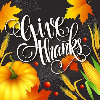 Tarjeta de felicitación de acción de gracias dibujada a mano con hojas, calabaza y spica. ilustración vectorial eps 10
