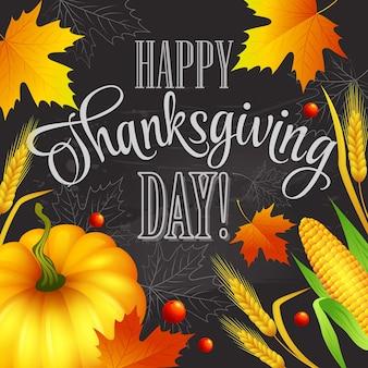 Tarjeta de felicitación de acción de gracias dibujada a mano con hojas, calabaza y spica.