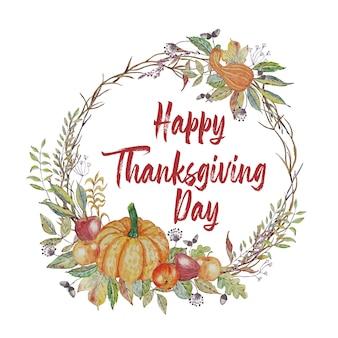 Tarjeta de felicitación de acción de gracias con hojas de otoño y corona de calabaza