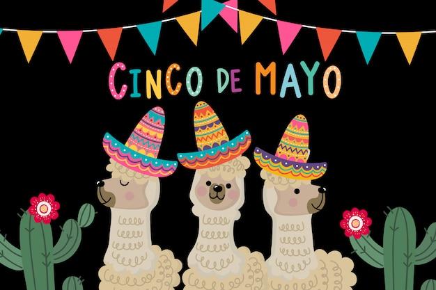 Tarjeta de felicitación de acinco de mayo con linda alpaca y cactus.