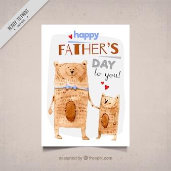Tarjeta de felicitación de acuarela con osos lindos para el día del padre