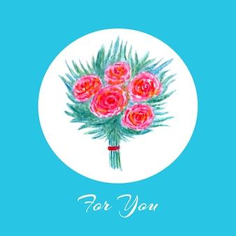 Tarjeta de felicitación de acuarela con ramo de flores florecientes