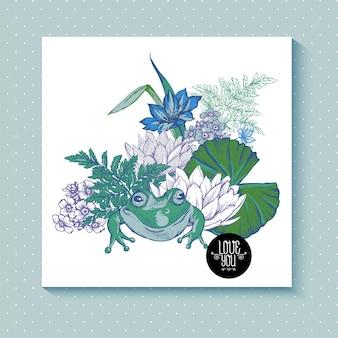 Tarjeta de felicitación acuosa de flores de estanque vintage