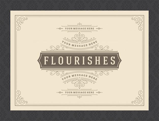 Tarjeta de felicitación de adorno vintage caligrafía ornamentada remolinos y viñetas plantilla de marco