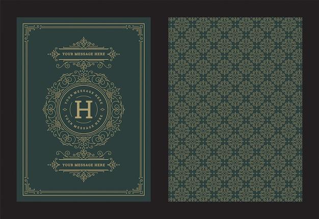 Tarjeta de felicitación de adorno vintage caligráficos remolinos adornados y viñetas vector de diseño de marco