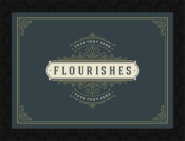 Tarjeta de felicitación de adorno vintage remolinos ornamentados caligráficos y diseño de marco de viñetas