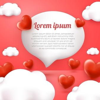 Tarjeta de felicitación de amor y nube 3d con fondo rosa plantilla de redes sociales feliz día de la madre