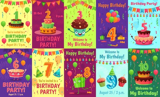 Tarjeta de felicitación de aniversario de dibujos animados. números de cumpleaños, invitación de celebración y pastel de fiesta número velas cartel conjunto