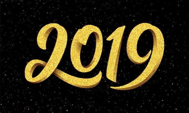 Tarjeta de felicitación de año nuevo 2019 con caligrafía