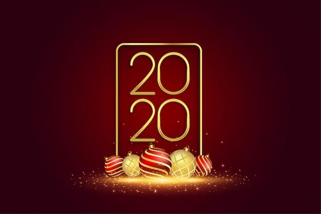 Tarjeta de felicitación de año nuevo 2020 con bolas de navidad 3d