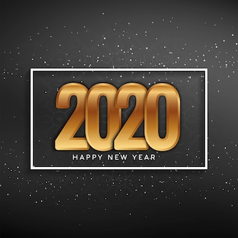 Tarjeta de felicitación de año nuevo 2020 con texto dorado