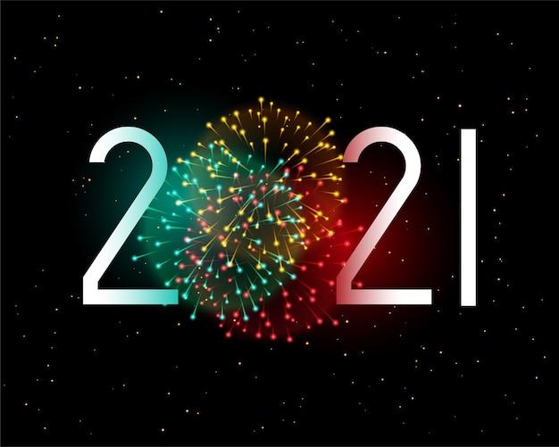 Tarjeta de felicitación de año nuevo 2021 con celebración de fuegos artificiales.