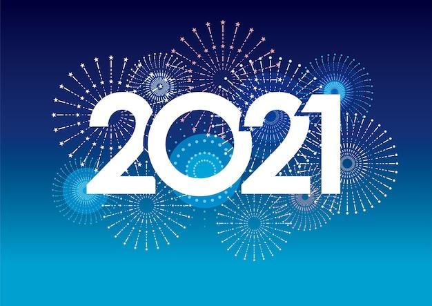 Tarjeta de felicitación de año nuevo 2021 con fuegos artificiales