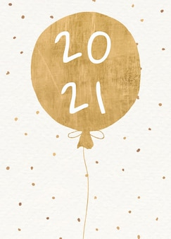 Tarjeta de felicitación de año nuevo 2021 con globo dorado.