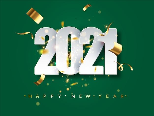 Tarjeta de felicitación de año nuevo 2021 sobre fondo verde. ilustración festiva con confeti y destellos.