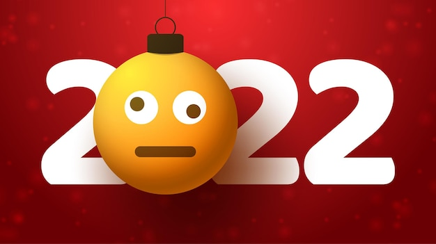 Tarjeta de felicitación para el año nuevo 2022 con cara de emoji confundida que cuelga de un hilo como un juguete, bola o adorno navideño. ilustración de vector de concepto de emoción de año nuevo