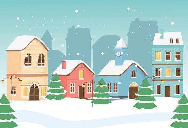 Tarjeta de felicitación de año nuevo casas ciudad farolas árboles nieve