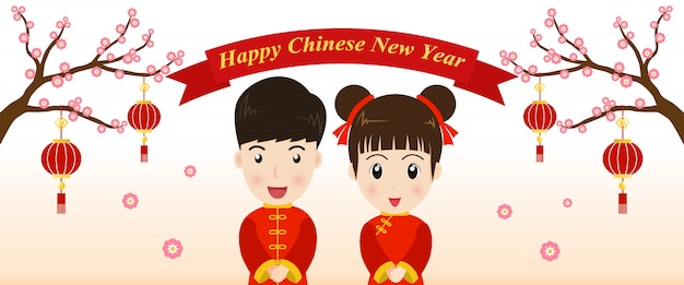 Tarjeta de felicitación de año nuevo chino con lindo chico y chica