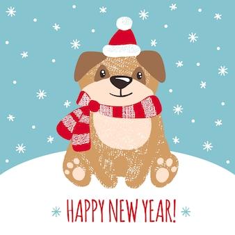 Tarjeta de felicitación de año nuevo con lindo perro.
