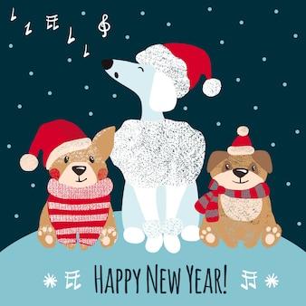 Tarjeta de felicitación de año nuevo con lindos perros.