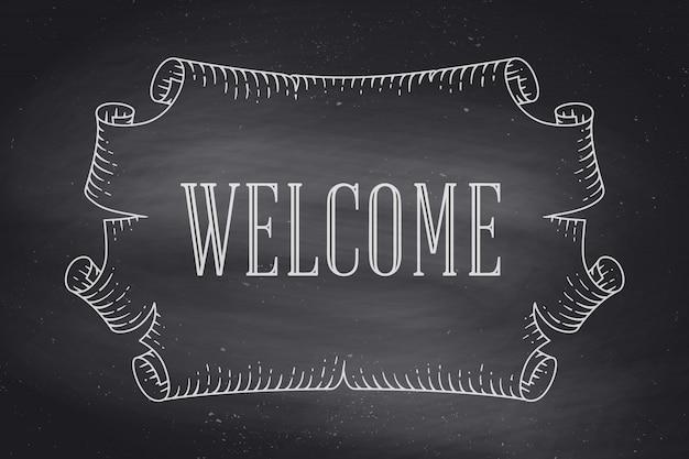 Tarjeta de felicitación con antiguo pergamino antiguo vintage y palabra bienvenido