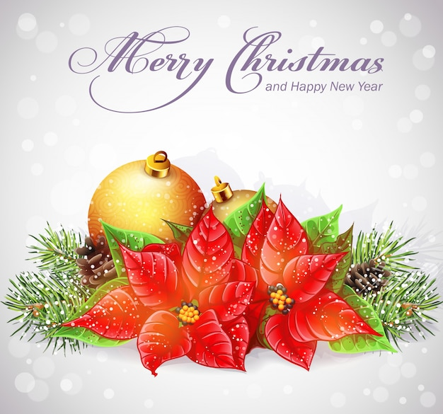 Tarjeta de felicitación con árbol de navidad y año nuevo con ramas y flores navidad