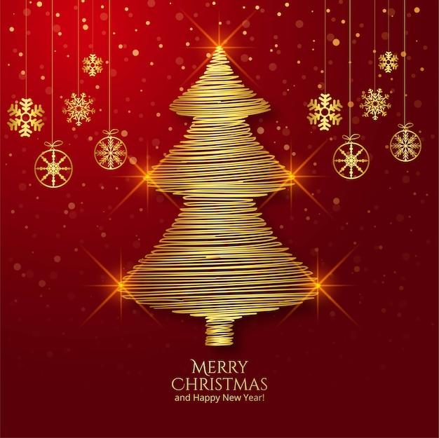 Tarjeta de felicitación de árbol de navidad de contorno dorado