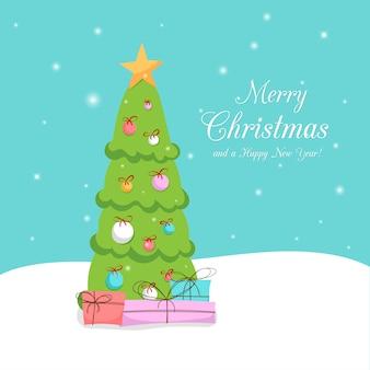 Tarjeta de felicitación. árbol de navidad y regalos en la nieve. feliz año nuevo