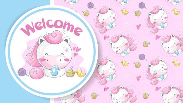 Tarjeta de felicitación de baby shower con linda chica unicornio de dibujos animados