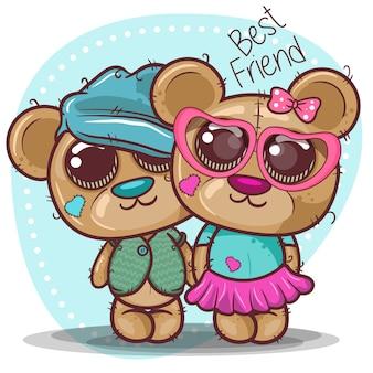 Tarjeta de felicitación de baby shower con niño y niña oso - vector