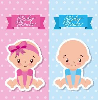 Tarjeta de felicitación de baby shower con niño y niña
