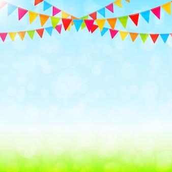 Tarjeta de felicitación con banderas de colores