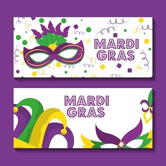 Tarjeta de felicitación de banner de dos mardi gras con máscara y sombrero de bufón