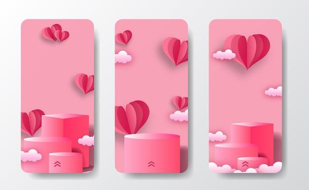 Tarjeta de felicitación de banner de historias de redes sociales para exhibición de productos de escenario de podio el día de san valentín con ilustración de estilo de corte de papel en forma de corazón y fondo rosa pastel suave