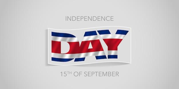 Tarjeta de felicitación de banner de vector de feliz día de la independencia de costa rica