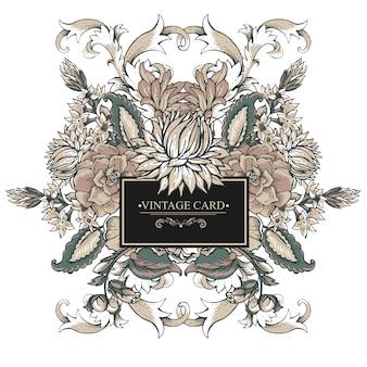 Tarjeta de felicitación barroca vintage con remolinos, flores