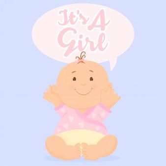 Tarjeta de felicitación con bebé. es una chica