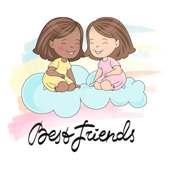Tarjeta de felicitación best friends card color vector illustration para scrapbooking y digital pri