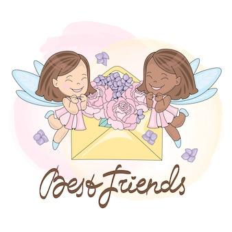 Tarjeta de felicitación best friends color vector illustration para scrapbooking e impresión digital