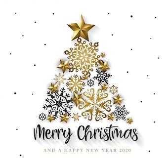 Tarjeta de felicitación blanca y dorada de feliz navidad y feliz año nuevo 2020