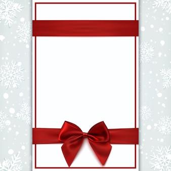 Tarjeta de felicitación en blanco con cinta roja y lazo. plantilla de invitación, volante o folleto. ilustración.